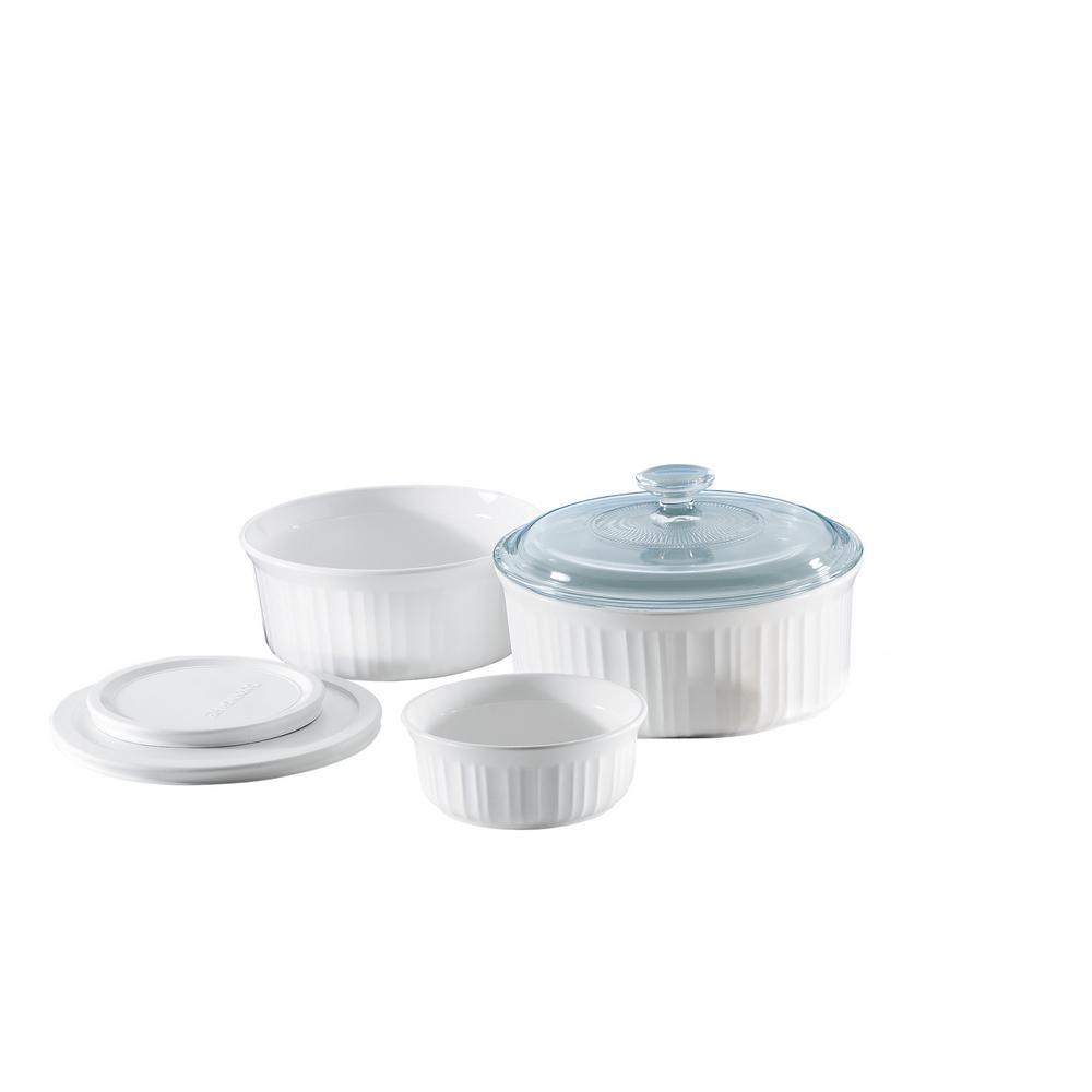 French White 6-Piece Ceramic Bakeware Set