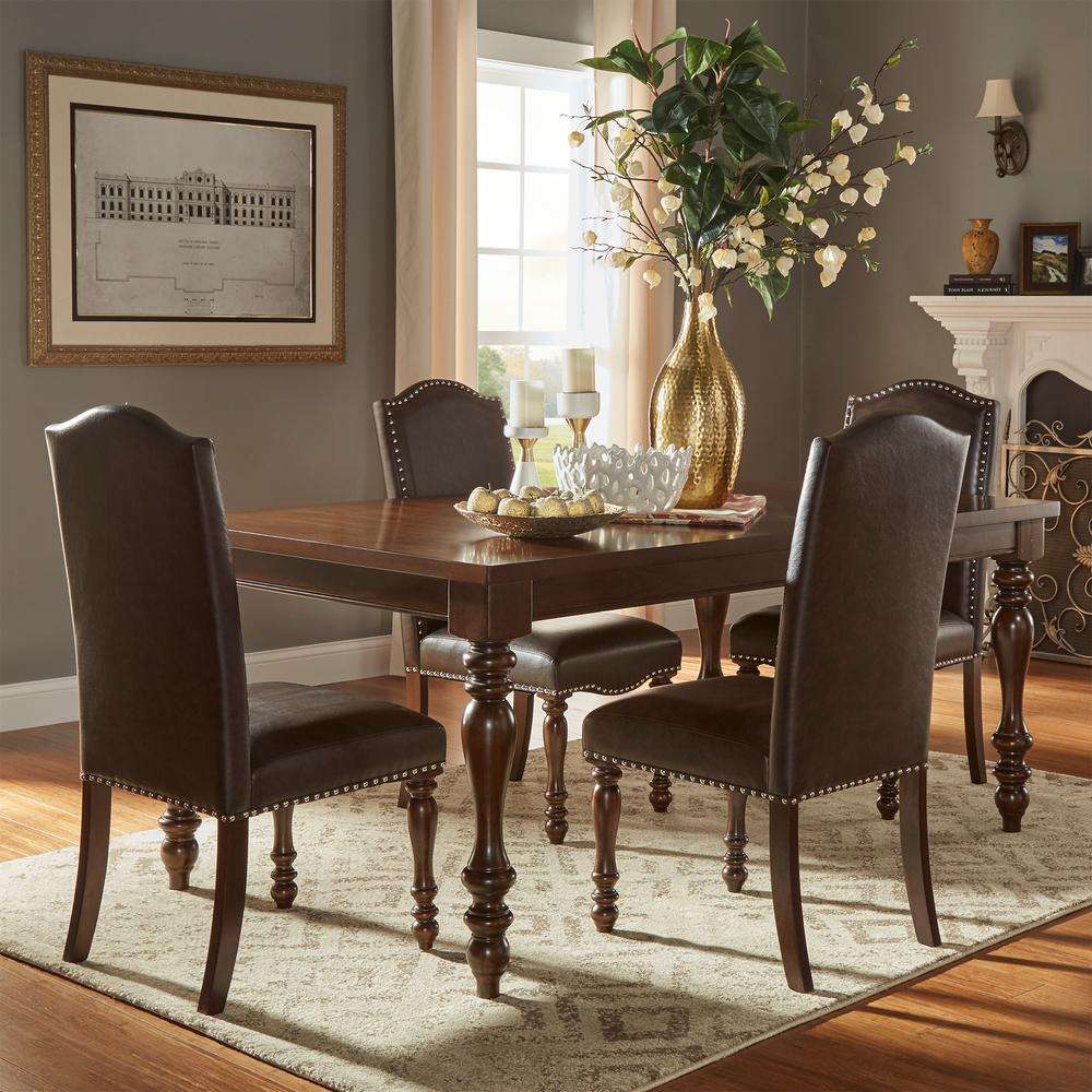 Homesullivan madison 5 piece brown extendable dining set