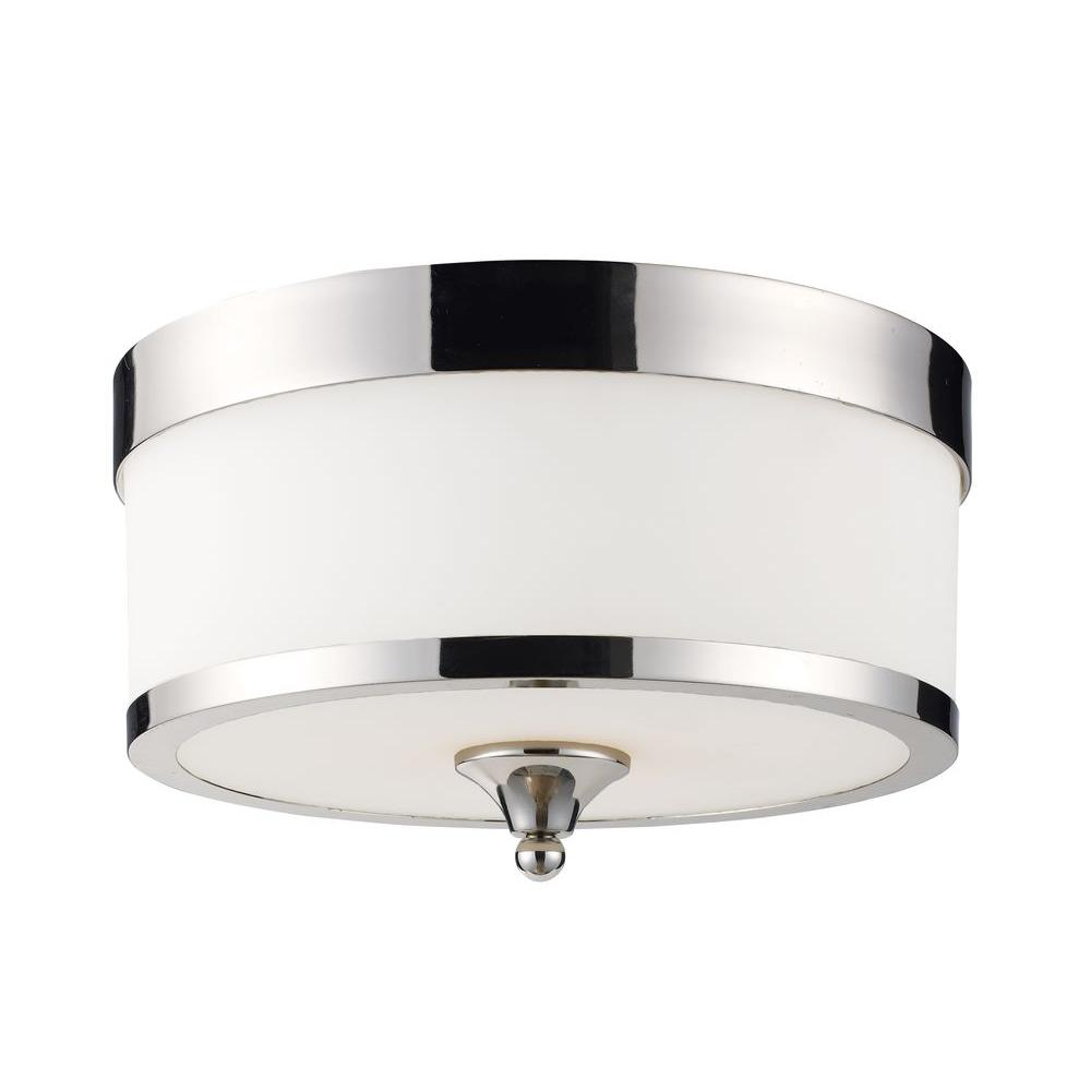 Filament Design Patrina 3-Light Chrome Flushmount with White Glass