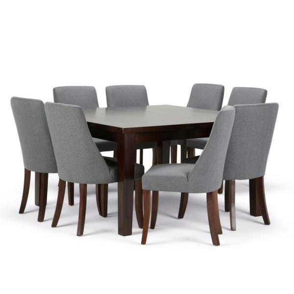 Walden 9 Piece Dining Set With 8 Upholstered Chairs In Slate Grey Linen Look Fabric And 54 Wide Table