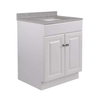 24 in. x 21 in. x 31.5 in. 2-Door Bath Vanity in White w/ 4 in. Centerset CM Moonscape Gray Vanity Top w/ Basin in White