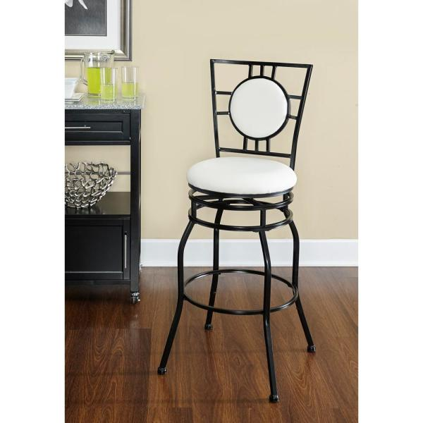Linon Home Decor Townsend Adjustable Height Black Cushioned Bar Stool