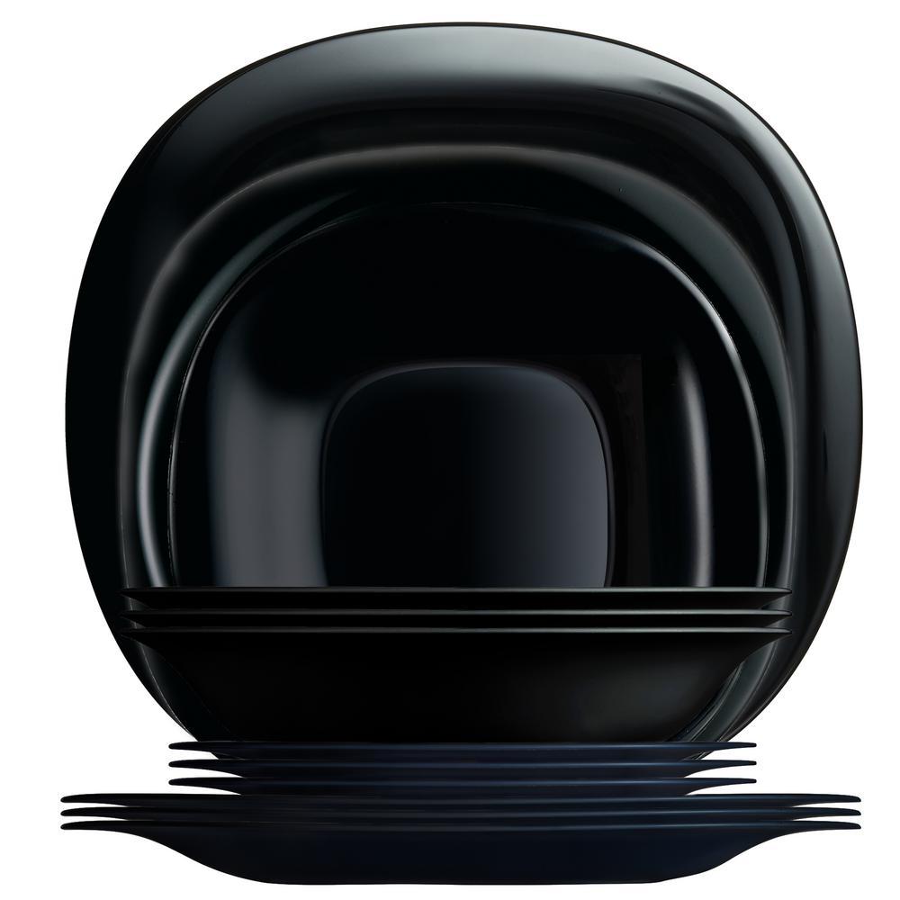 Carine 12-Piece Black Rounded Square Dinnerware Set
