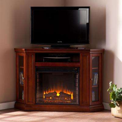 Hudson 48 in. W Convertible Media Electric Fireplace in Brown Mahogany