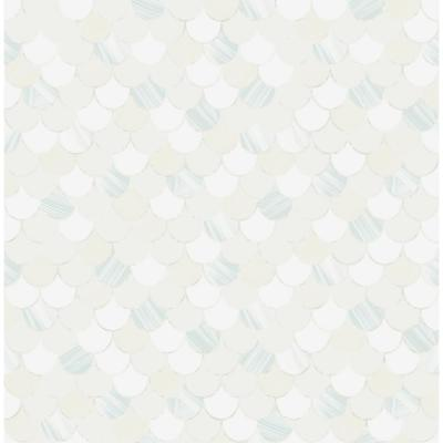 Catalina Metallic Pearl, White, and Baby Blue Scales Wallpaper