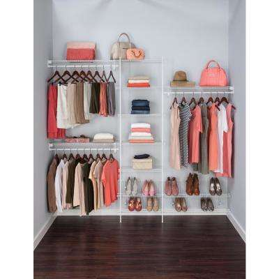 SuperSlide 5 ft. to 8 ft. White Ventilated Wire Closet Organizer Kit