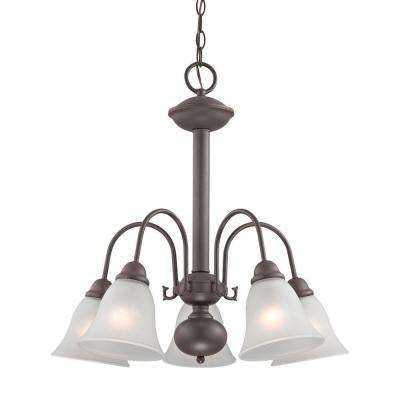 Bellingham 5-Light Oil-Rubbed Bronze Chandelier With White Glass Shades