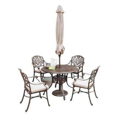 Floral Blossom 5-Piece Patio Dining Set with Beige Cushions and Umbrella