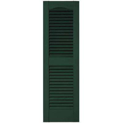 12 in. x 39 in. Louvered Vinyl Exterior Shutters Pair #122 Midnight Green