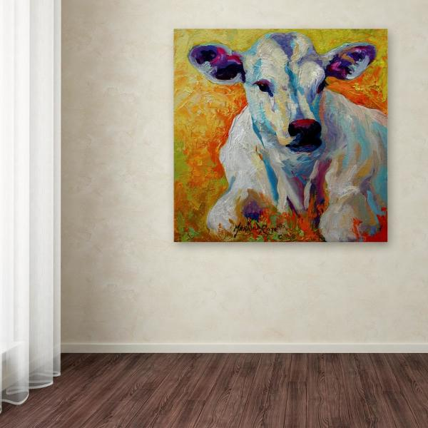 Trademark Fine Art 14 In X 14 In White Calf By Marion Rose Printed Canvas Wall Art Ali15385 C1414gg The Home Depot