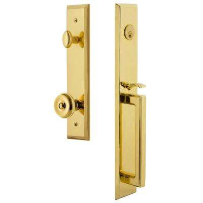 Fifth Avenue Lifetime Brass 1-Piece Door Handleset with D-Grip and Bouton Knob
