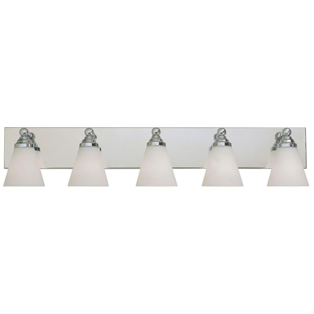 Designers Fountain Franklin Collection 5 Light Chrome Wall Mount Vanity  Light