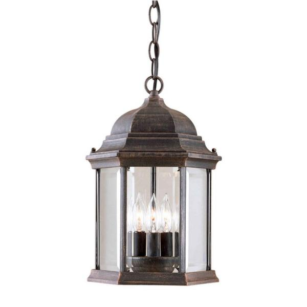 3-Light Outdoor Painted Rust Pendant with Clear Beveled Glass Panels
