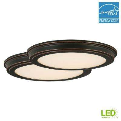 13 in. 180-Watt Equivalent Oil Rubbed Bronze Integrated LED Ceiling Flushmount with White Acrylic Shade (2-Pack)
