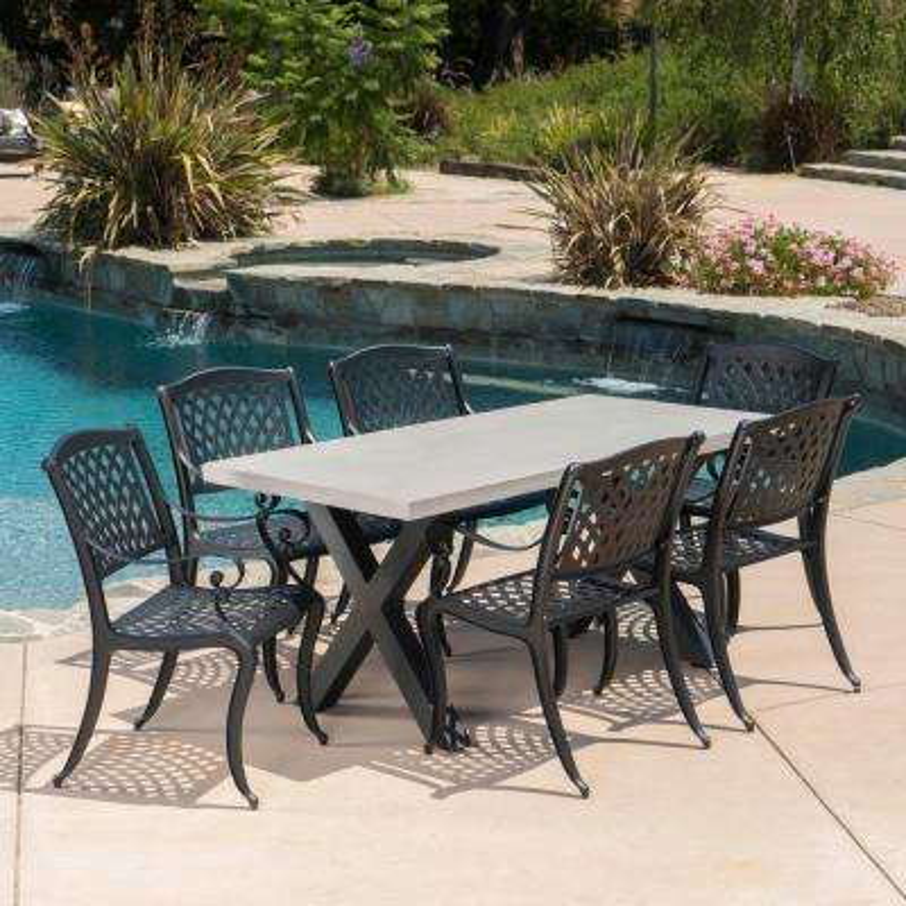 Capri Black 7-Piece Aluminum Outdoor Dining Set