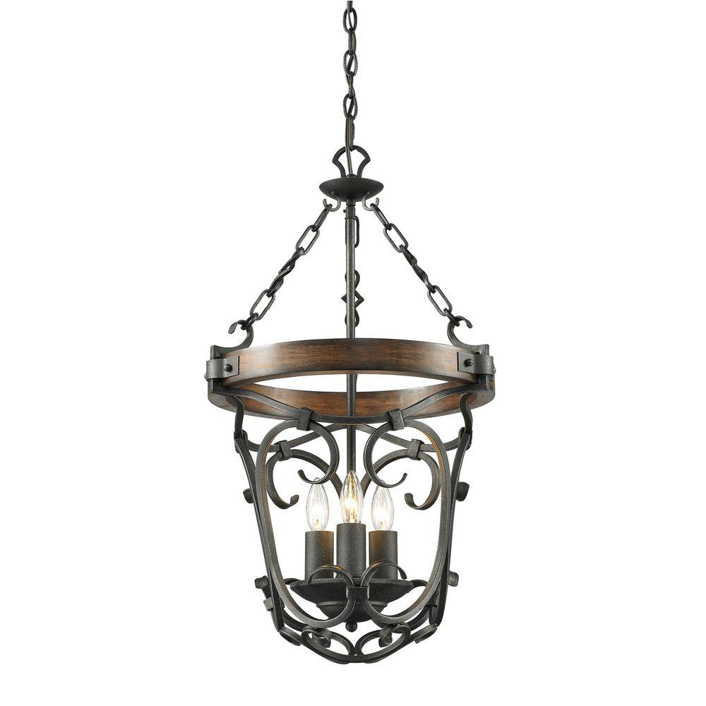 Golden Lighting Vargas Collection 3-Light Black Iron Pendant