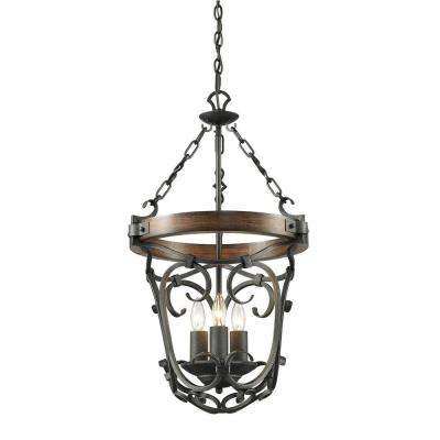Vargas Collection 3-Light Black Iron Pendant