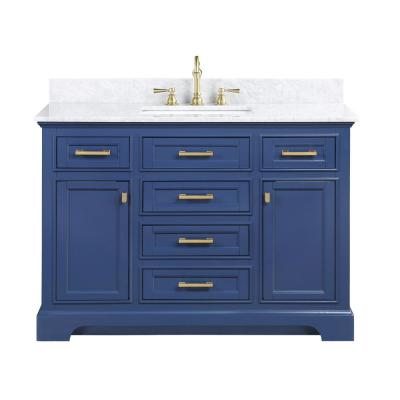 Milano 48 in. W x 22 in. D Bath Vanity in Blue with Carrara Marble Vanity Top in White with White Basin