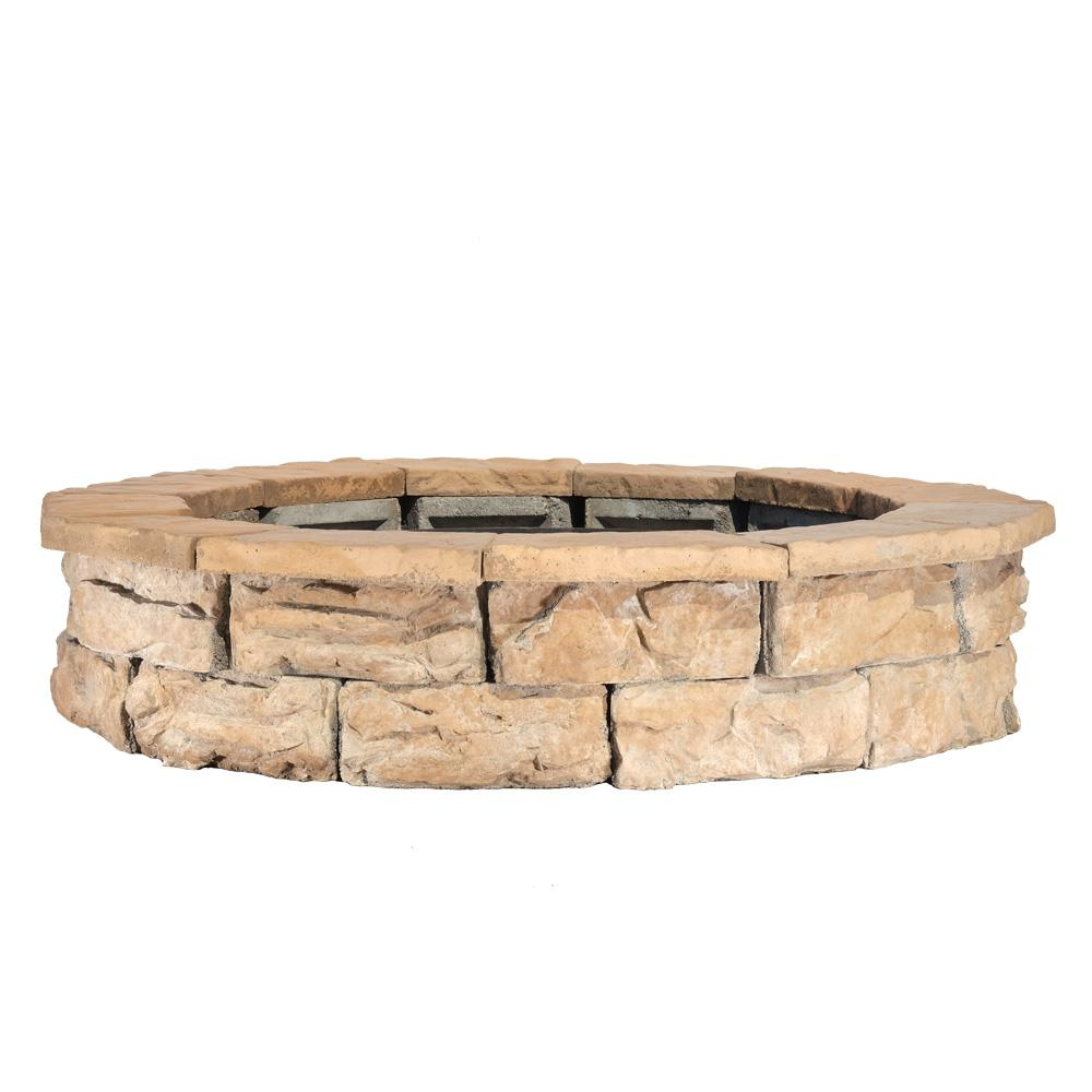 NaturalConcreteProductsCo Natural Concrete Products Co 44 in. Fossill Brown Round Fire Pit Kit