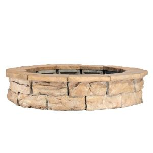 44 in. Fossill Brown Round Fire Pit Kit
