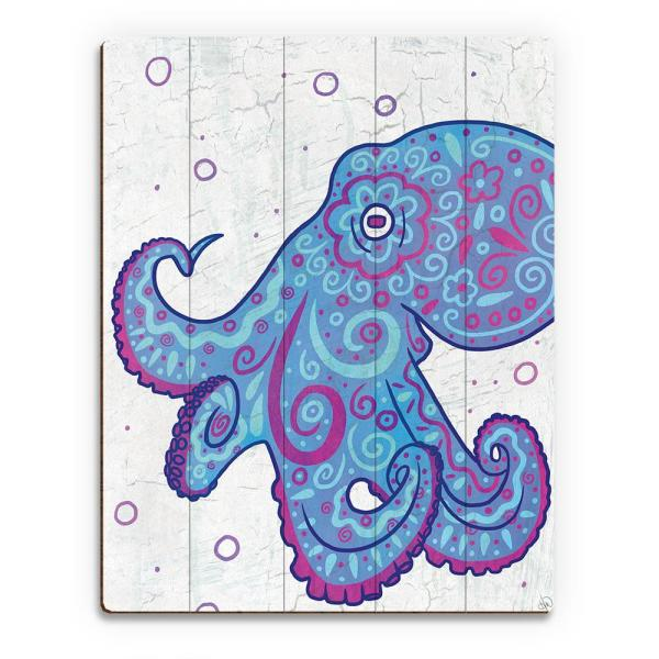 11 In X 14 In Watercolor Octopus Blue Purple And Teal Planked Wood Wall Art Print