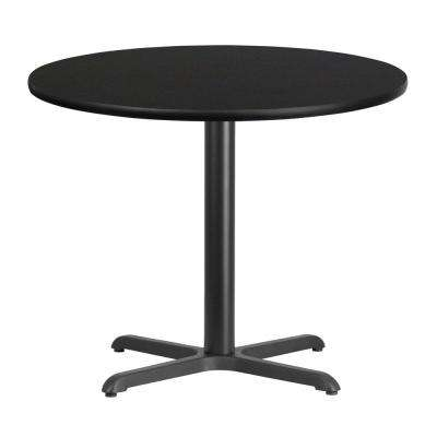 36 in. Round Black Laminate Table Top with 30 in. x 30 in. Table Height Base