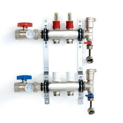 1 in. NPT Inlet x 1/2 in.  Stainless Steel Compression Connection 2-Outlet Radiant Heating Manifold