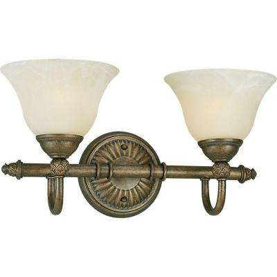 Savannah Collection 2-Light Burnished Chestnut Vanity Light with Antique Alabaster Glass Shades