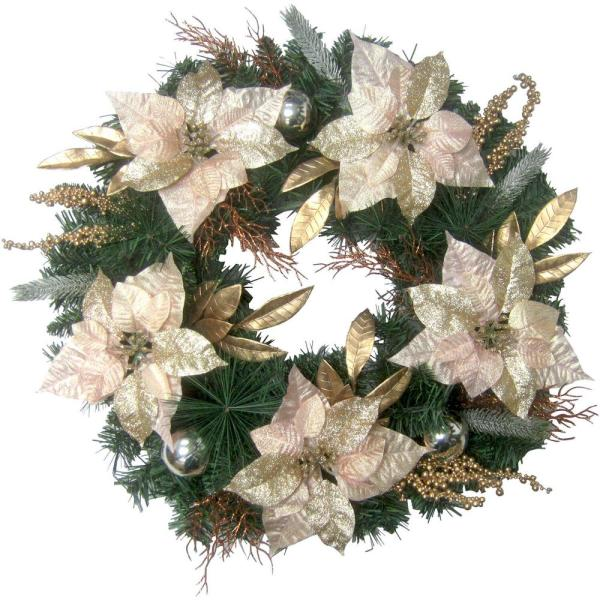 24 in. Artificial Christmas Wreath with Poinsettias, Ornaments and Gold Berries