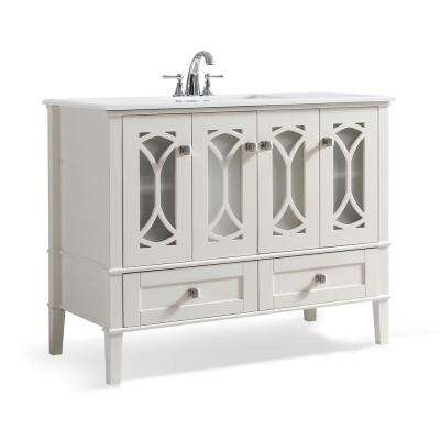 Denning 42 in. Bath Vanity in Pure White with Extra Thick Engineered Quartz Marble Vanity Top in White with White Basin