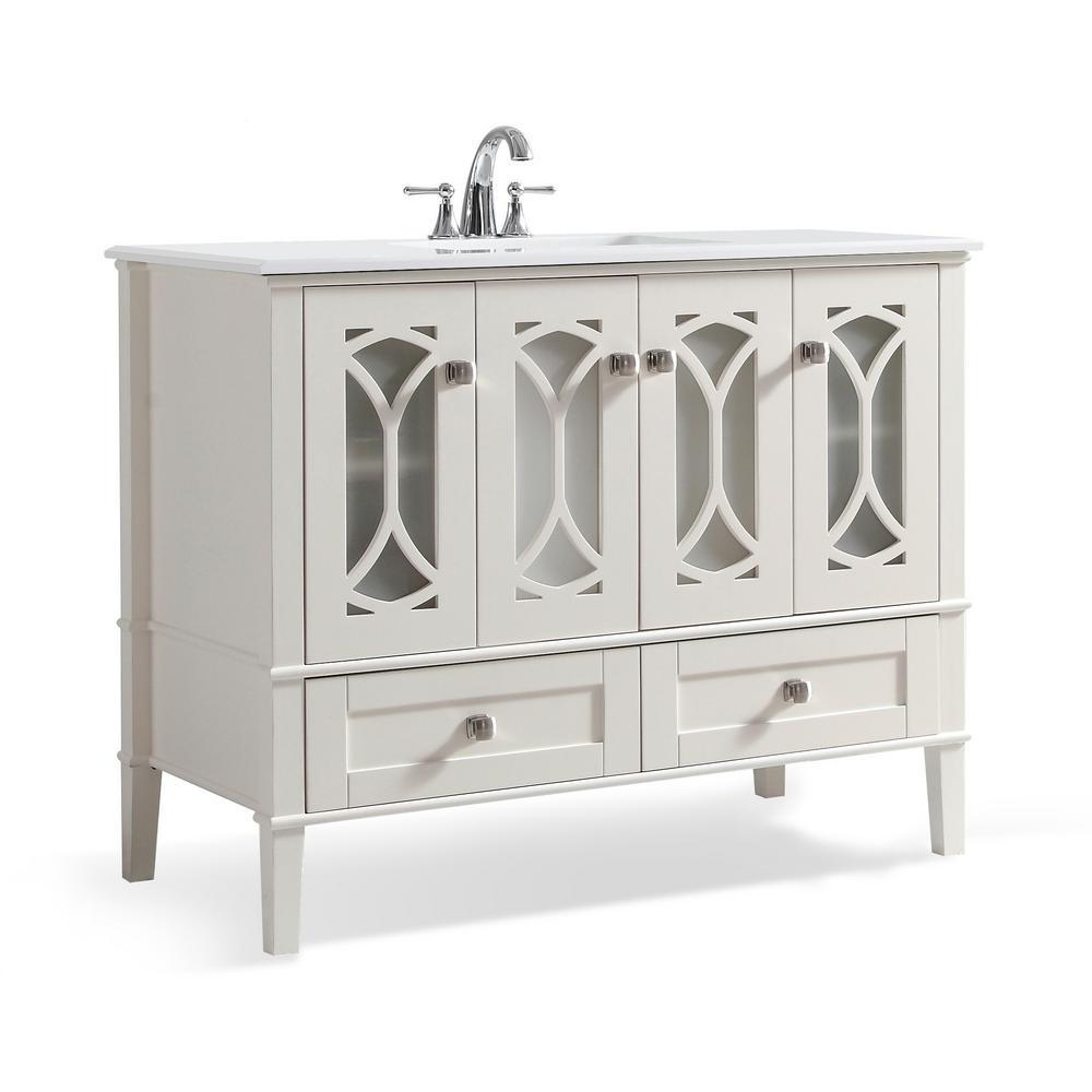 Simpli Home Soft White Engineered Stone Top White Basin