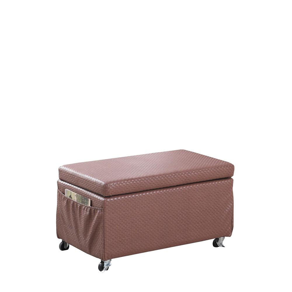 Ore International Auburn Brown Basketweave Leatherette Storage Bench Give your home a refined design with a beautiful, Auburn Brown Basketweave Pattern Leatherette storage ottoman bench. Made from wood construction, this storage ottoman bench is suitable for storage, seating or use as a coffee table. The rectangular form lends itself to a number of placements among your existing furniture arrangement. Side pockets will keep your elusive remote controls close at hand and be able to use as a newspaper, magazine rack.This vertical filing storage ottoman bench is a stylish addition to any home office ensemble. Each drawer is designed to hold letter-sized files and can support up to 50 lbs. of supplies, while included 2 file bars make organizing your folders a breeze. Paired with caster wheels, it brings smooth mobility to the design. The versatility of the padded storage ottoman bench makes it a must have.