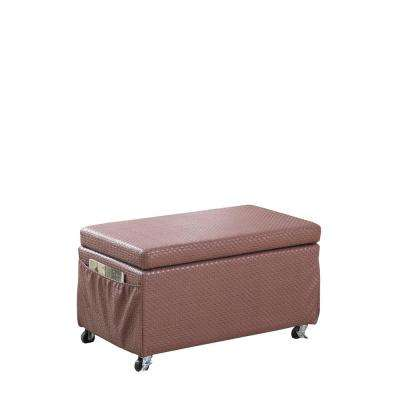 Auburn Brown Basketweave Leatherette Storage Bench