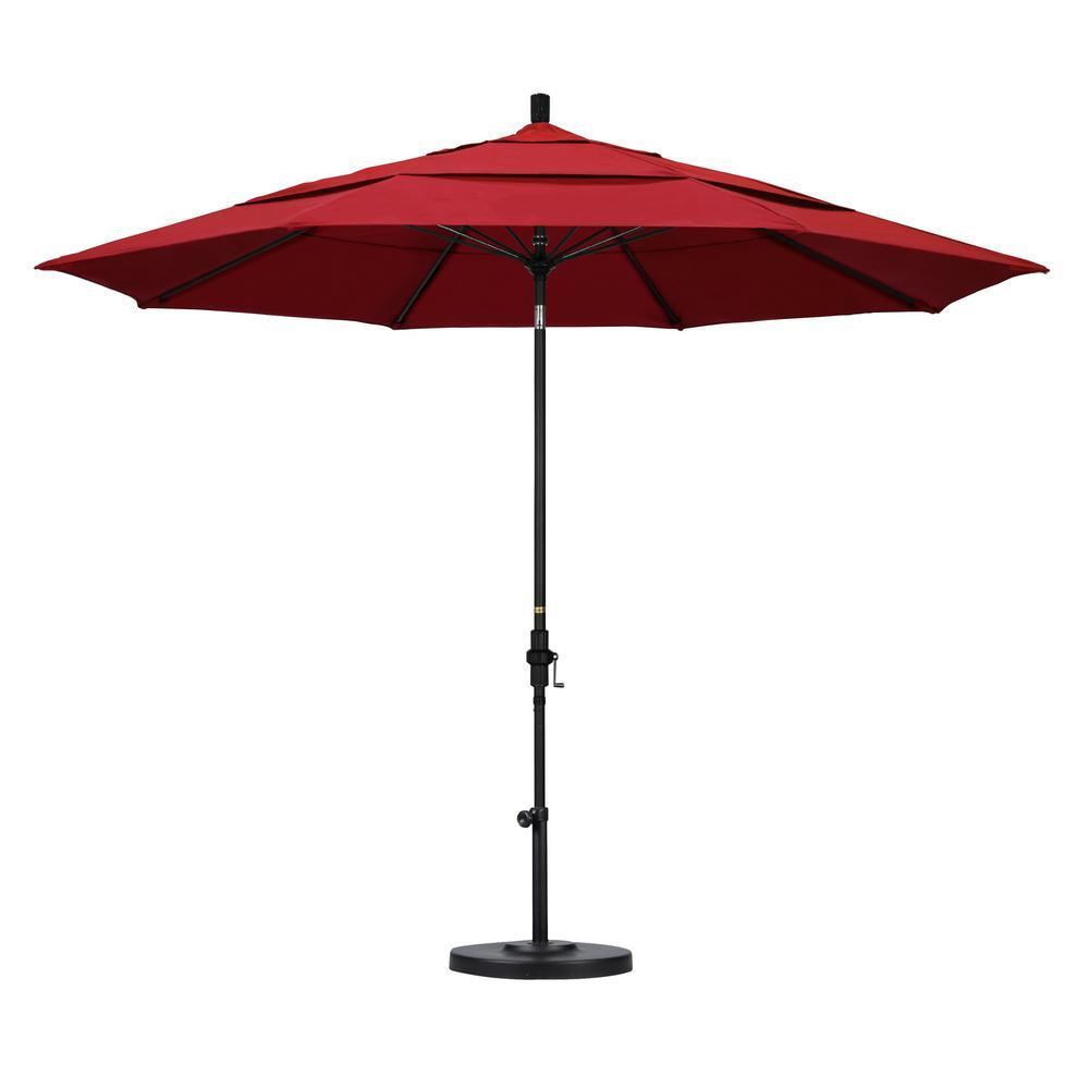 California Umbrella 11 ft. Fiberglass Collar Tilt Double Vented Patio Umbrella in Red Pacifica