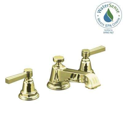 Pinstripe 8 in. Widespread 2-Handle Low-Arc Water-Saving Bathroom Faucet in Vibrant French Gold with Lever Handles