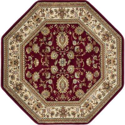 Sensation Red 7 ft. 10 in. Traditional Octagon Area Rug