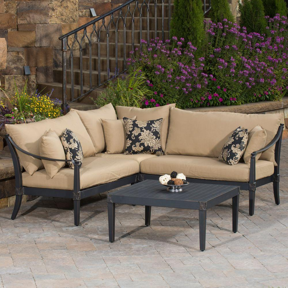 RST Brands Astoria 4 Piece Patio Sectional Seating Set With Delano Beige  Cushions