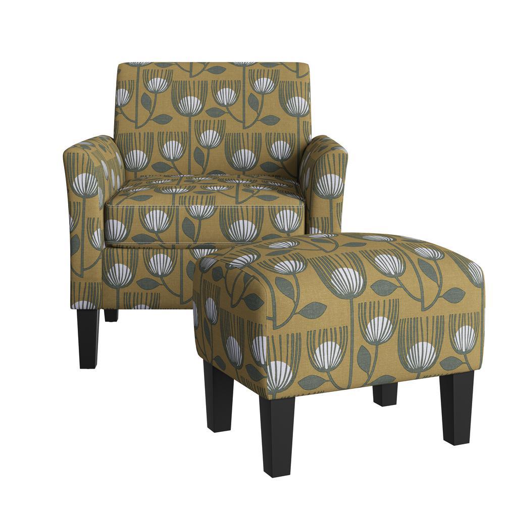 Mimi Rose Half Round Gold Modern Tulip Print Arm Chair and Ottoman Set