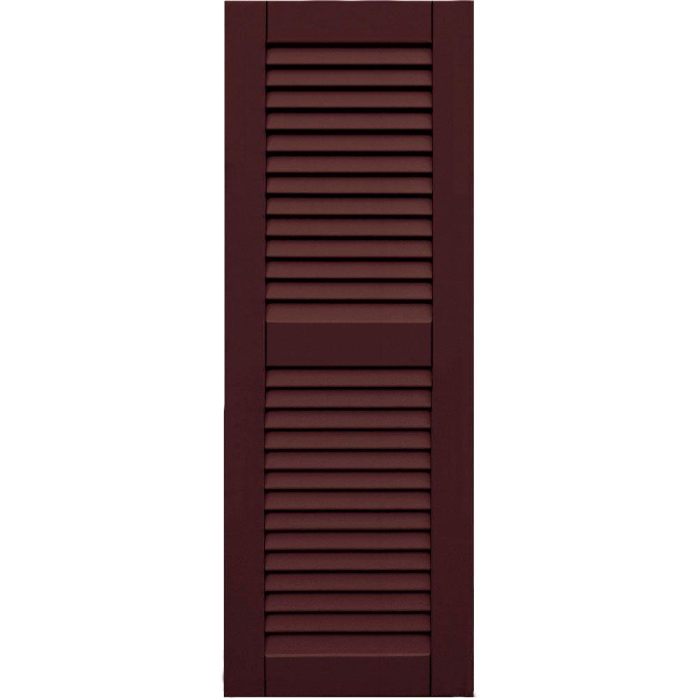Winworks Wood Composite 15 in. x 42 in. Louvered Shutters Pair #657 Polished Mahogany