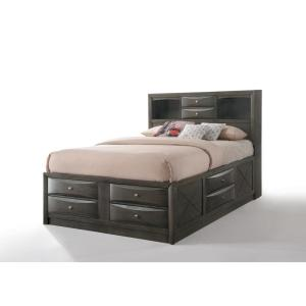 Ireland Gray Oak Storage Full Bed