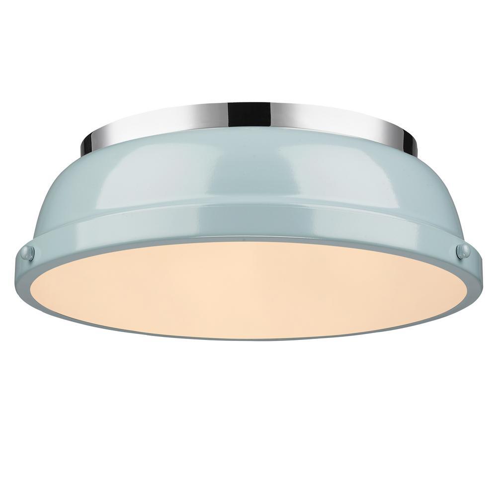 Duncan 2-Light Chrome Flush Mount with Seafoam Shade