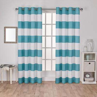 Surfside 54 in. W x 96 in. L Cotton Grommet Top Curtain Panel in Teal (2 Panels)