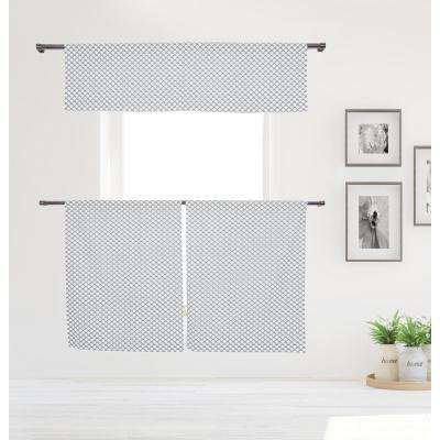 Medici Kitchen Valance in Tiers/Grey - 15 in. W x 58 in. L (3-Piece)