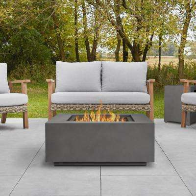 Aegean 36 in. x 15 in. Square Steel Propane Fire Pit Table in Weathered Slate with NG Conversion Kit