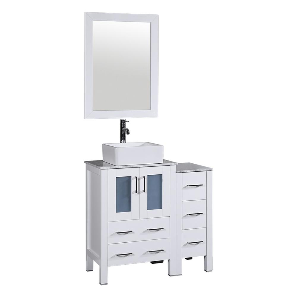 Bosconi 36 in. W Single Bath Vanity in White with Carrara Marble Vanity Top with White Basin and Mirror