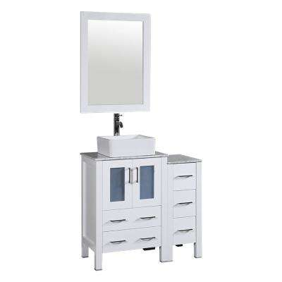 36 in. W Single Bath Vanity in White with Carrara Marble Vanity Top with White Basin and Mirror