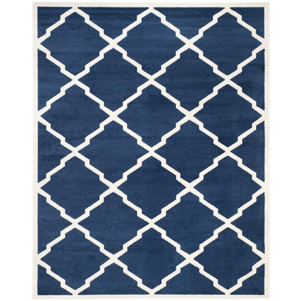 Indoor Outdoor Rugs Home Depot: Safavieh Amherst Navy/Beige 6 Ft. X 9 Ft. Indoor/Outdoor