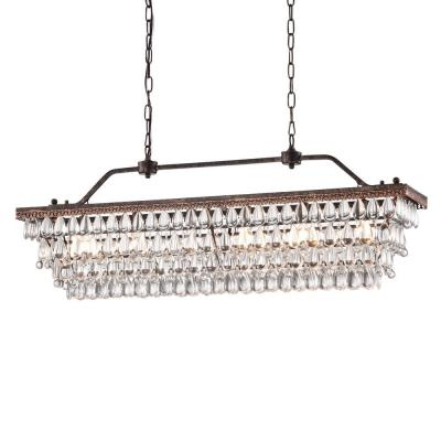 Chiara 6-Light Antique Bronze Rectangular Chandelier with Crystal hanging