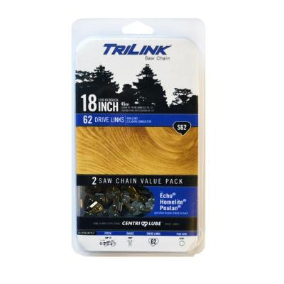 Twin Pack 18 in. S62 Semi Chisel Chainsaw Chain