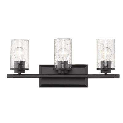 Mercer 3-Light Bath Vanity in Matte Black with Matte Black Accents and Seeded Glass